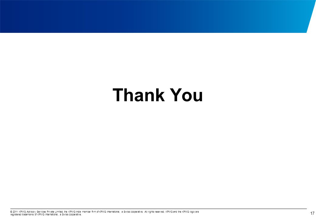 © 2011 KPMG Advisory Services Private Limited, the KPMG India member firm of KPMG International, a Swiss cooperative. All rights reserved. KPMG and th