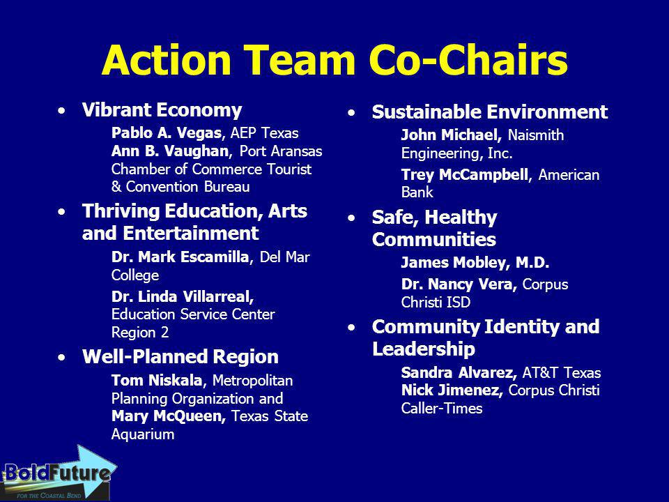 Action Team Co-Chairs Vibrant Economy Pablo A. Vegas, AEP Texas Ann B. Vaughan, Port Aransas Chamber of Commerce Tourist & Convention Bureau Thriving