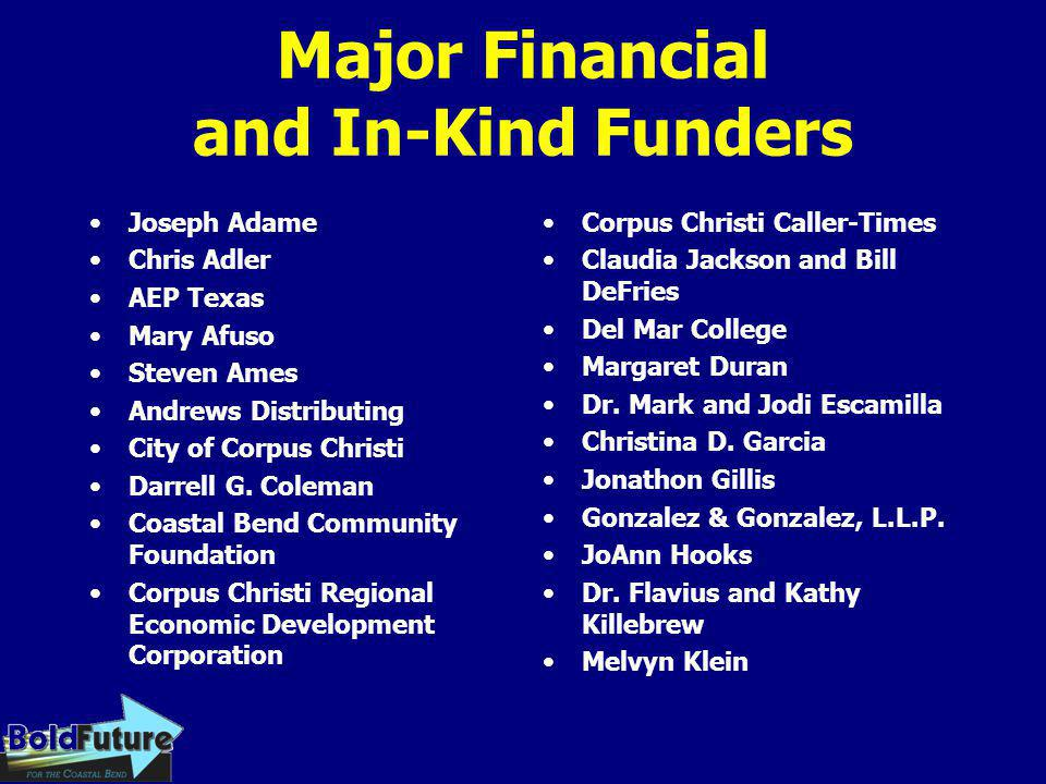 Major Financial and In-Kind Funders Joseph Adame Chris Adler AEP Texas Mary Afuso Steven Ames Andrews Distributing City of Corpus Christi Darrell G. C