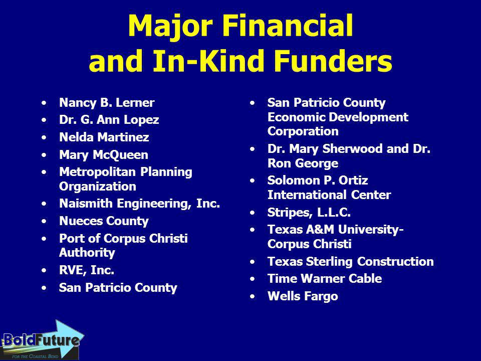 Major Financial and In-Kind Funders Nancy B. Lerner Dr. G. Ann Lopez Nelda Martinez Mary McQueen Metropolitan Planning Organization Naismith Engineeri