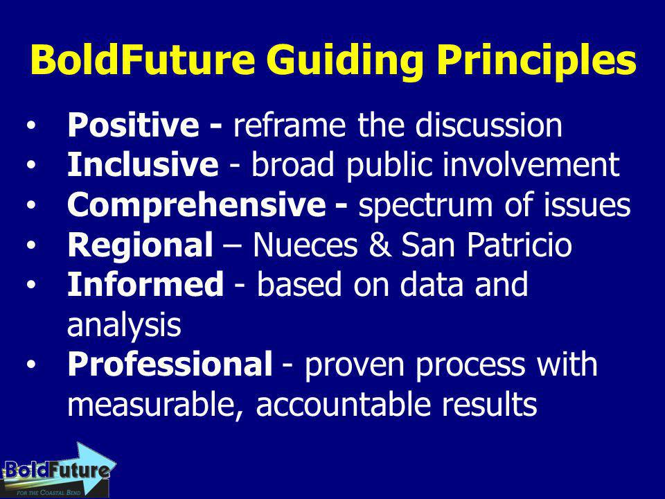 BoldFuture Guiding Principles Positive - reframe the discussion Inclusive - broad public involvement Comprehensive - spectrum of issues Regional – Nue