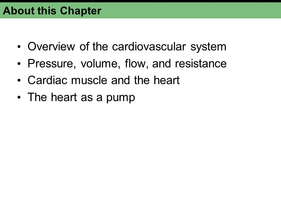 About this Chapter Overview of the cardiovascular system Pressure, volume, flow, and resistance Cardiac muscle and the heart The heart as a pump