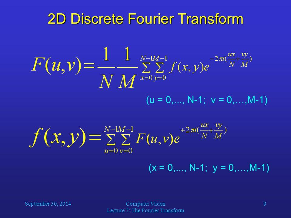 September 30, 2014Computer Vision Lecture 7: The Fourier Transform 9 2D Discrete Fourier Transform (u = 0,..., N-1; v = 0,…,M-1) (x = 0,..., N-1; y =