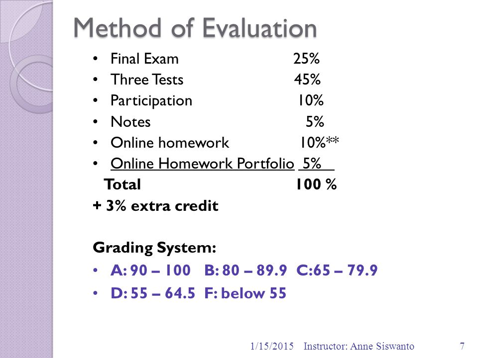 Method of Evaluation 1/15/2015Instructor: Anne Siswanto7 Final Exam 25% Three Tests 45% Participation 10% Notes 5% Online homework 10%** Online Homewo