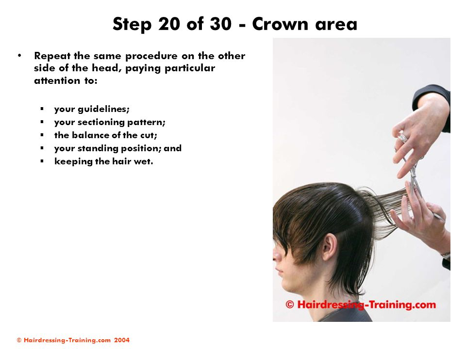 © Hairdressing-Training.com 2004 Step 20 of 30 - Crown area Repeat the same procedure on the other side of the head, paying particular attention to: 