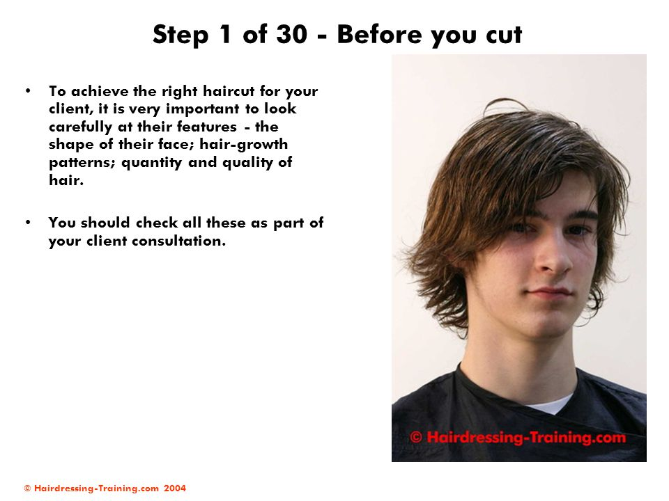 © Hairdressing-Training.com 2004 Step 1 of 30 - Before you cut To achieve the right haircut for your client, it is very important to look carefully at