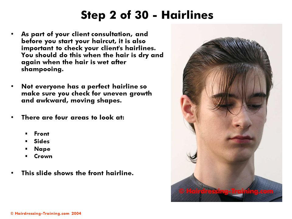 © Hairdressing-Training.com 2004 Step 2 of 30 - Hairlines As part of your client consultation, and before you start your haircut, it is also important