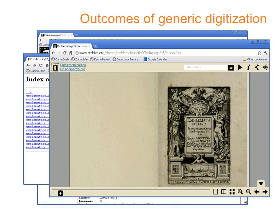 Outcomes of generic digitization