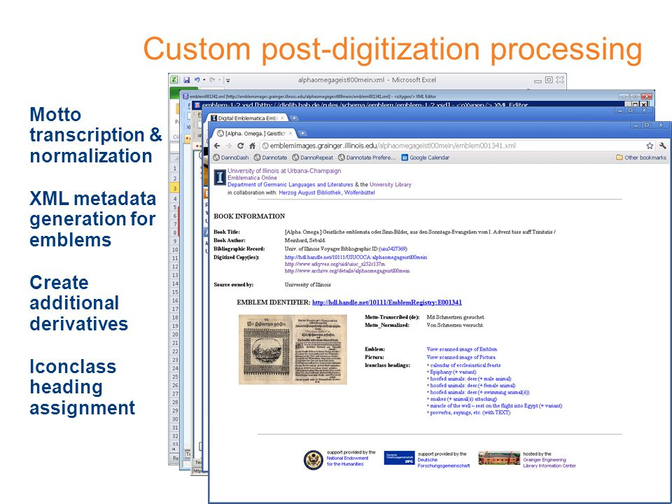 Custom post-digitization processing Motto transcription & normalization XML metadata generation for emblems Iconclass heading assignment Based on: A Spine of Information Headings for Emblem-Related Electronic ResourcesA Spine of Information Headings for Emblem-Related Electronic Resources by Stephen Rawles (2003) Create additional derivatives
