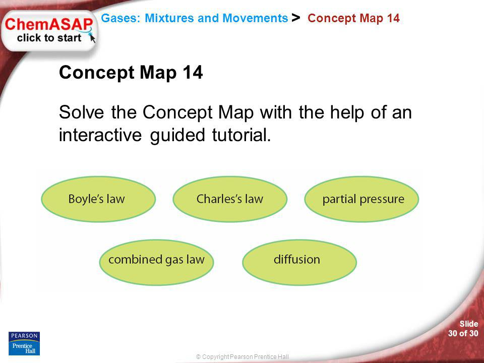 © Copyright Pearson Prentice Hall Slide 30 of 30 Gases: Mixtures and Movements > Concept Map 14 Solve the Concept Map with the help of an interactive