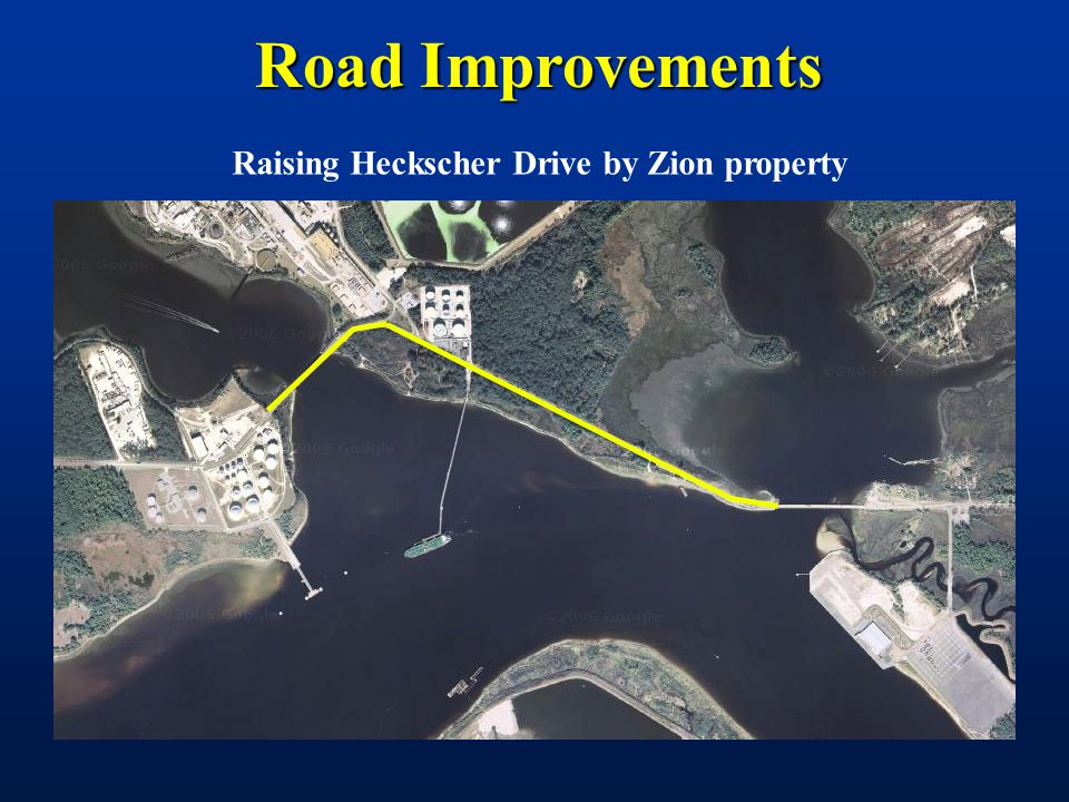 Road Improvements Raising Heckscher Drive by Zion property
