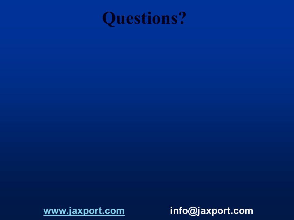 Questions? www.jaxport.com info@jaxport.comwww.jaxport.com