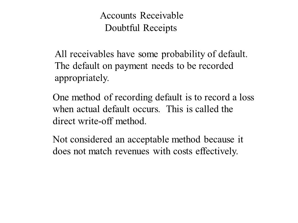Accounts Receivable Doubtful Receipts One method of recording default is to record a loss when actual default occurs.