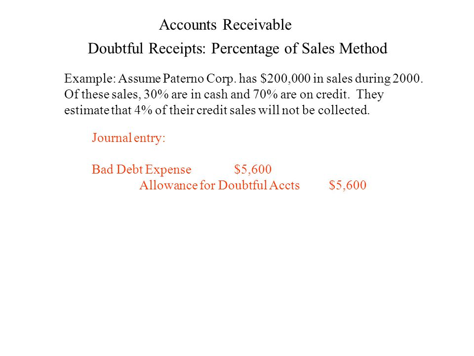 Accounts Receivable Example: Assume Paterno Corp. has $200,000 in sales during 2000.