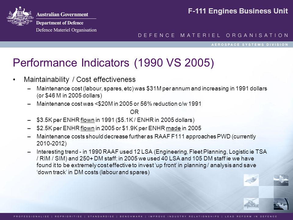 F-111 Engines Business Unit Performance Indicators (1990 VS 2005) Maintainability / Cost effectiveness –Maintenance cost (labour, spares, etc) was $31M per annum and increasing in 1991 dollars (or $46 M in 2005 dollars) –Maintenance cost was <$20M in 2005 or 56% reduction c/w 1991 OR –$3.5K per ENHR flown in 1991 ($5.1K / ENHR in 2005 dollars) –$2.5K per ENHR flown in 2005 or $1.9K per ENHR made in 2005 –Maintenance costs should decrease further as RAAF F111 approaches PWD (currently 2010-2012) –Interesting trend - in 1990 RAAF used 12 LSA (Engineering, Fleet Planning, Logistic ie TSA / RIM / SIM) and 250+ DM staff; in 2005 we used 40 LSA and 105 DM staff ie we have found it to be extremely cost effective to invest 'up front' in planning / analysis and save 'down track' in DM costs (labour and spares)