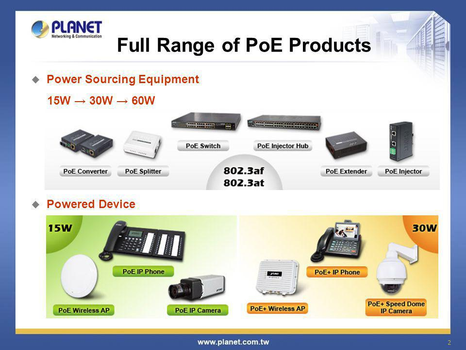 3 Intelligent PoE Management  PoE System Management PoE Budget Overloading Protection PoE Temperature Threshold PoE Power Usage Threshold Power Feeding Status Monitoring  PoE Port Configuration 802.3af mode control Power feeding On/Off/schedulable and priority configuration Power Limit function for PoE power management Auto detect powered device and consumption levels Classify connected powered devices  PD (Powered Device) Alive Check  Schedule PoE Power Recycle 802.3at 30-watt / 60-watt High Power 802.3af 15.4-watt Standard Power