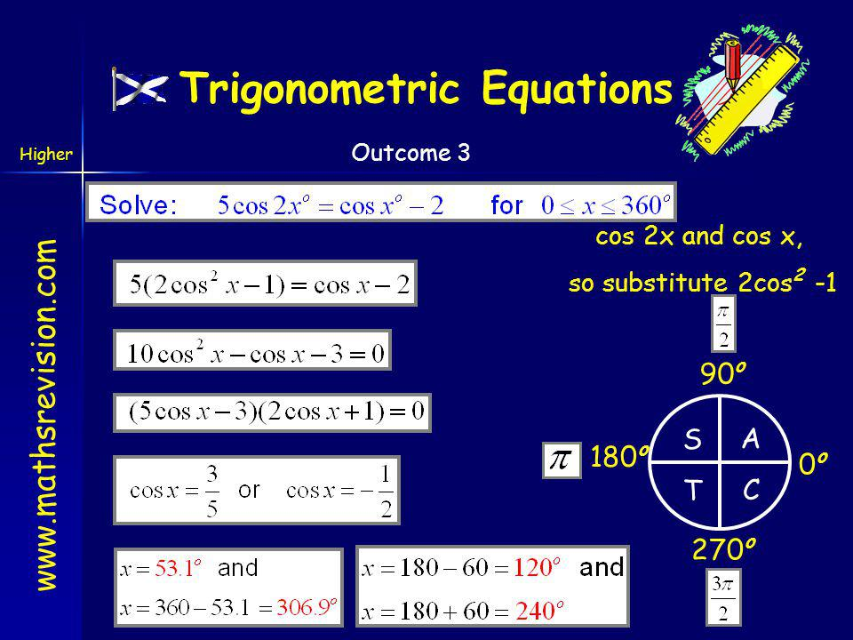 www.mathsrevision.com Higher Outcome 3 cos2x and sin x, so substitute 1-2sin 2 x Trigonometric Equations