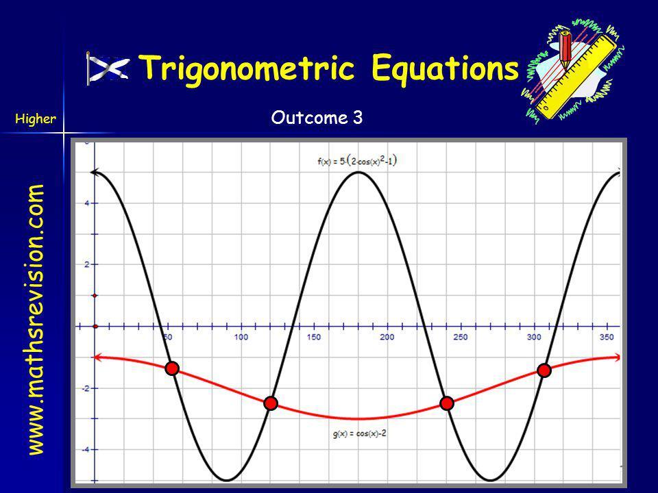 www.mathsrevision.com Higher Outcome 3 cos 2x and cos x, so substitute 2cos 2 -1 Trigonometric Equations C A S T 0o0o 180 o 270 o 90 o