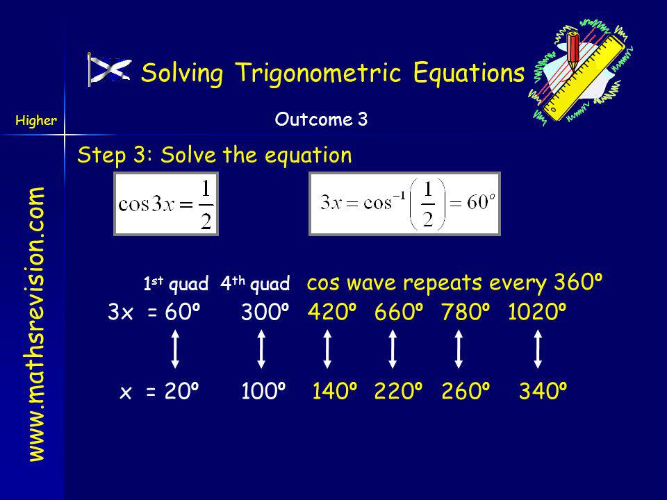 www.mathsrevision.com Higher Outcome 3 cos 3x is positive so solutions in the first and fourth quadrants x 3 Solving Trigonometric Equations