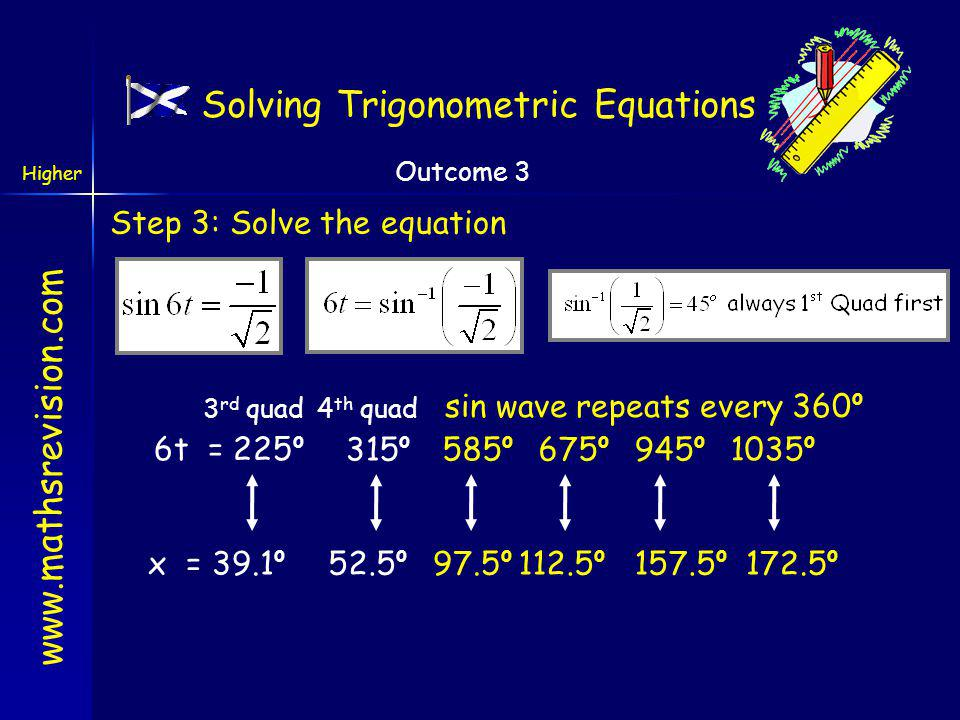 www.mathsrevision.com Higher Outcome 3 Solving Trigonometric Equations Example: Step 1: Re-Arrange Step 2: consider what solutions are expected C A S