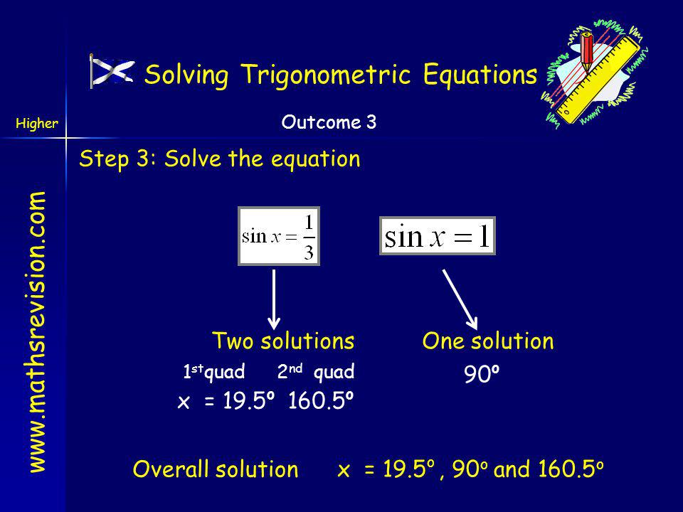 www.mathsrevision.com Higher Outcome 3 Solving Trigonometric Equations Harder Example: Step 1: Re-Arrange Step 2: Consider what solutions are expected