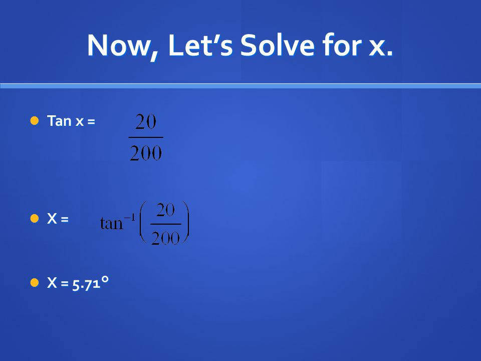 Now, Let's Solve for x. Tan x = Tan x = X = X = X = 5.71° X = 5.71°