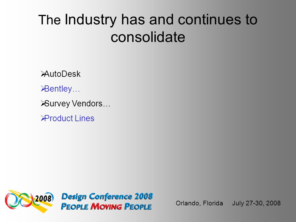 Orlando, Florida July 27-30, 2008 The AEC CADD industry is Flux  To BIM or Not to BIM  Not to mention – BRIM, CIM and MIM…  Models vs. Plans…  2D,