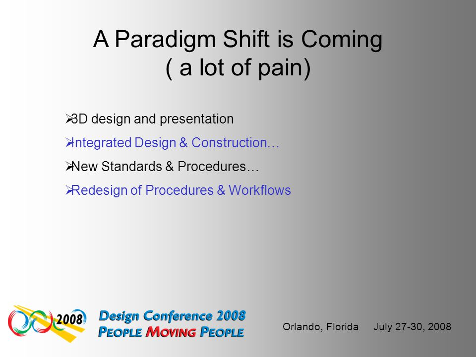 Orlando, Florida July 27-30, 2008 The Industry has and continues to consolidate  AutoDesk  Bentley…  Survey Vendors…  Product Lines
