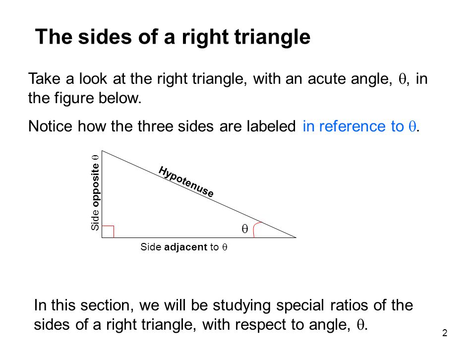 2 Take a look at the right triangle, with an acute angle, , in the figure below.