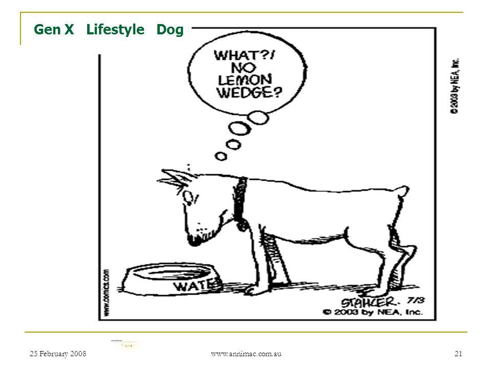 25 February 2008 www.annimac.com.au 21 Gen X Lifestyle Dog