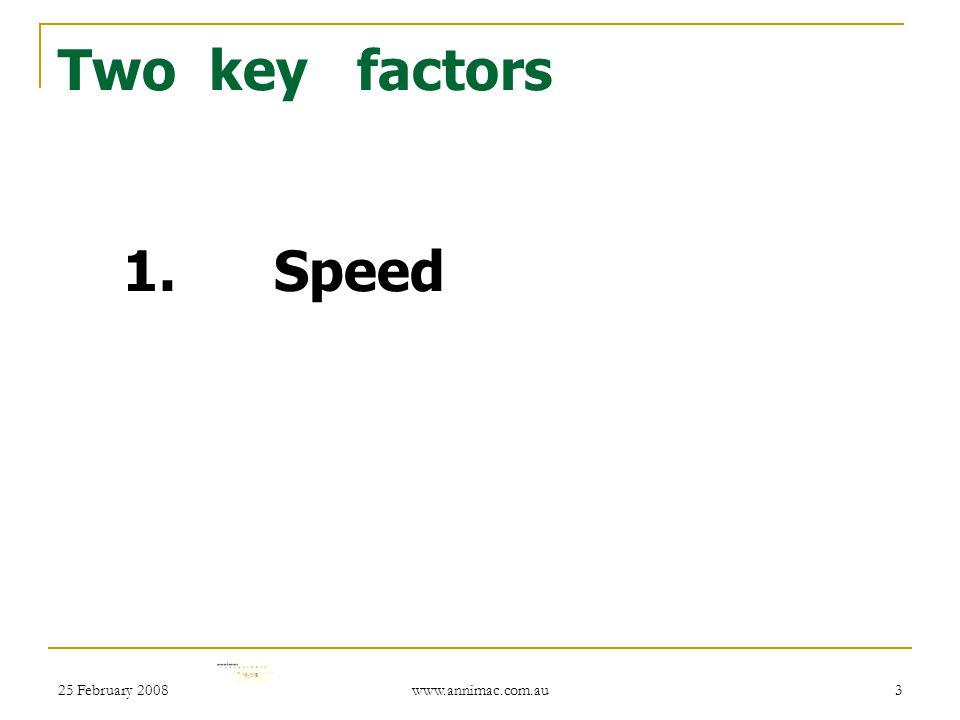 25 February 2008 www.annimac.com.au 3 Two key factors 1. Speed