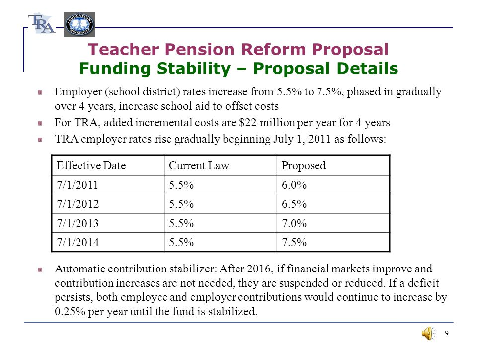 9 Teacher Pension Reform Proposal Funding Stability – Proposal Details Employer (school district) rates increase from 5.5% to 7.5%, phased in gradually over 4 years, increase school aid to offset costs For TRA, added incremental costs are $22 million per year for 4 years TRA employer rates rise gradually beginning July 1, 2011 as follows: Automatic contribution stabilizer: After 2016, if financial markets improve and contribution increases are not needed, they are suspended or reduced.