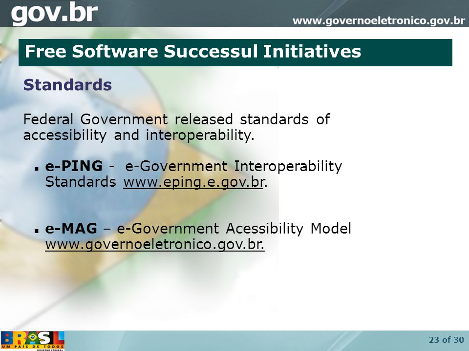 23 of 30 Federal Government released standards of accessibility and interoperability.