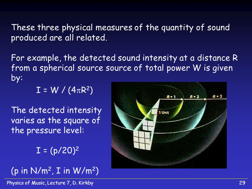 Physics of Music, Lecture 7, D. Kirkby28 Physical Ingredients to Perceived Loudness We can characterize the quantity of sound at each stage: Sound = P