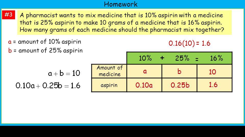 Homework #3 a a = amount of 10% aspirin b b = amount of 25% aspirin A pharmacist wants to mix medicine that is 10% aspirin with a medicine that is 25% aspirin to make 10 grams of a medicine that is 16% aspirin.