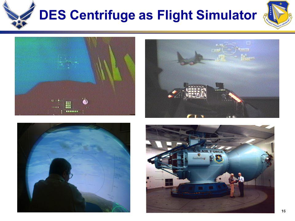 16 DES Centrifuge as Flight Simulator
