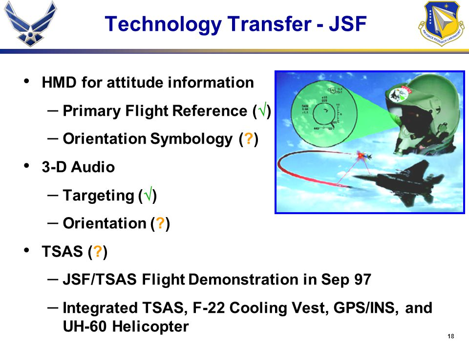 18 Technology Transfer - JSF HMD for attitude information – Primary Flight Reference (  ) – Orientation Symbology (?) 3-D Audio – Targeting (  ) – O