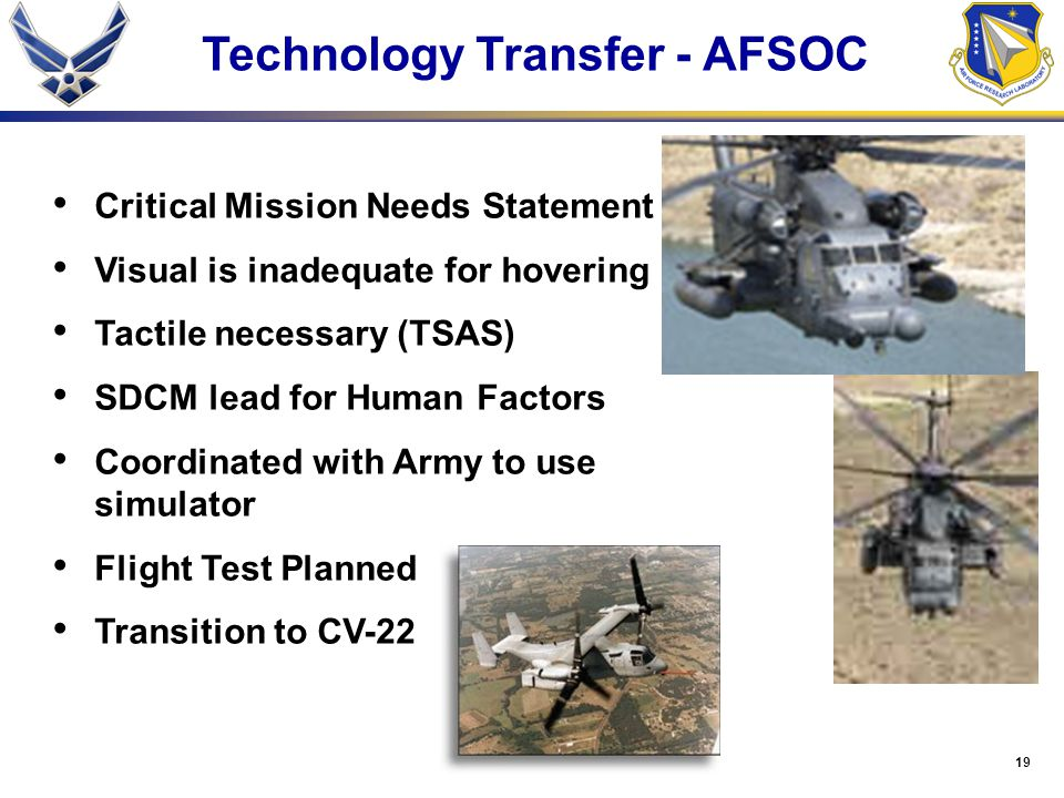 19 Technology Transfer - AFSOC Critical Mission Needs Statement Visual is inadequate for hovering Tactile necessary (TSAS) SDCM lead for Human Factors Coordinated with Army to use simulator Flight Test Planned Transition to CV-22