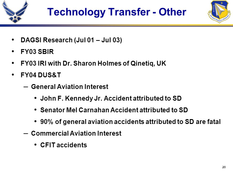 20 Technology Transfer - Other DAGSI Research (Jul 01 – Jul 03) FY03 SBIR FY03 IRI with Dr. Sharon Holmes of Qinetiq, UK FY04 DUS&T – General Aviation