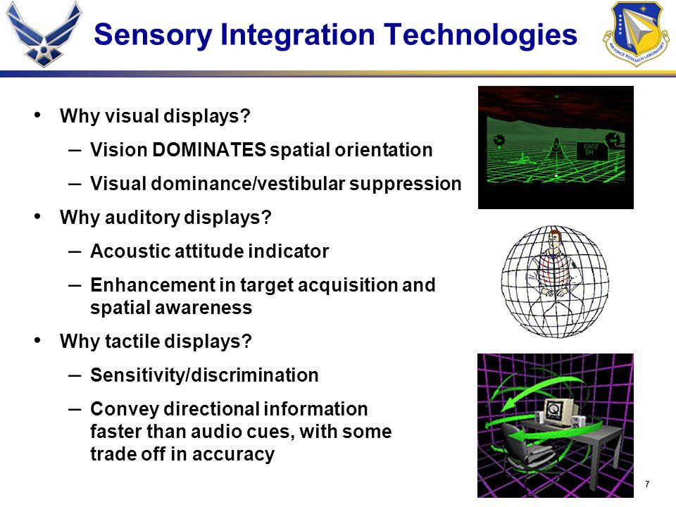 7 Sensory Integration Technologies Why visual displays? – Vision DOMINATES spatial orientation – Visual dominance/vestibular suppression Why auditory