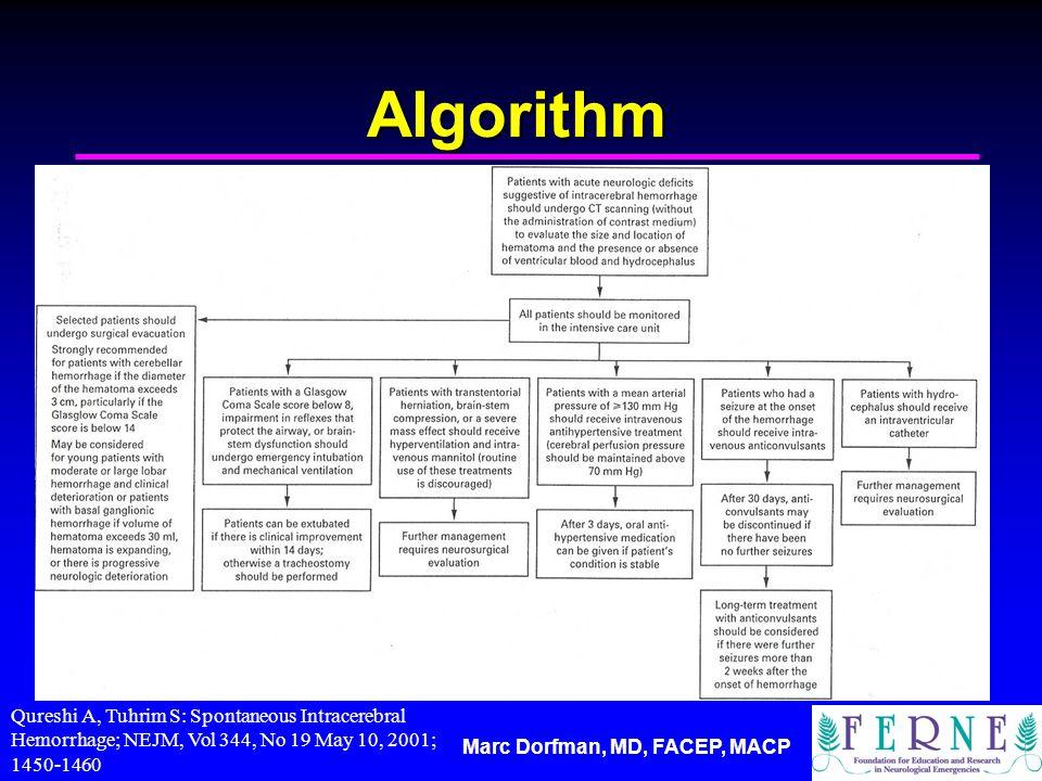 Marc Dorfman, MD, FACEP, MACP Algorithm Qureshi A, Tuhrim S: Spontaneous Intracerebral Hemorrhage; NEJM, Vol 344, No 19 May 10, 2001; 1450-1460