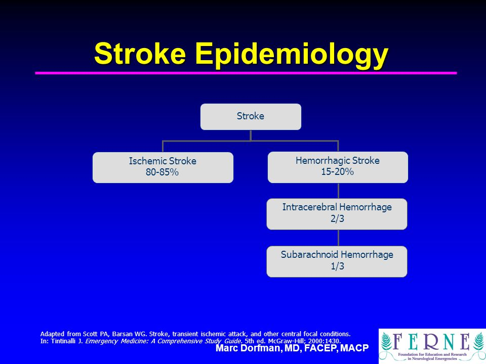 Marc Dorfman, MD, FACEP, MACP Stroke Epidemiology Adapted from Scott PA, Barsan WG. Stroke, transient ischemic attack, and other central focal conditi