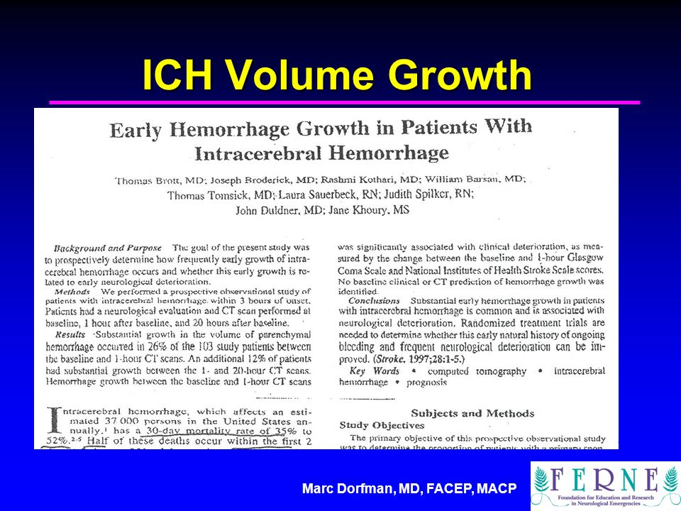 Marc Dorfman, MD, FACEP, MACP ICH Volume Growth