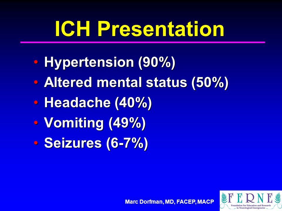 Marc Dorfman, MD, FACEP, MACP ICH Presentation Hypertension (90%)Hypertension (90%) Altered mental status (50%)Altered mental status (50%) Headache (40%)Headache (40%) Vomiting (49%)Vomiting (49%) Seizures (6-7%)Seizures (6-7%)