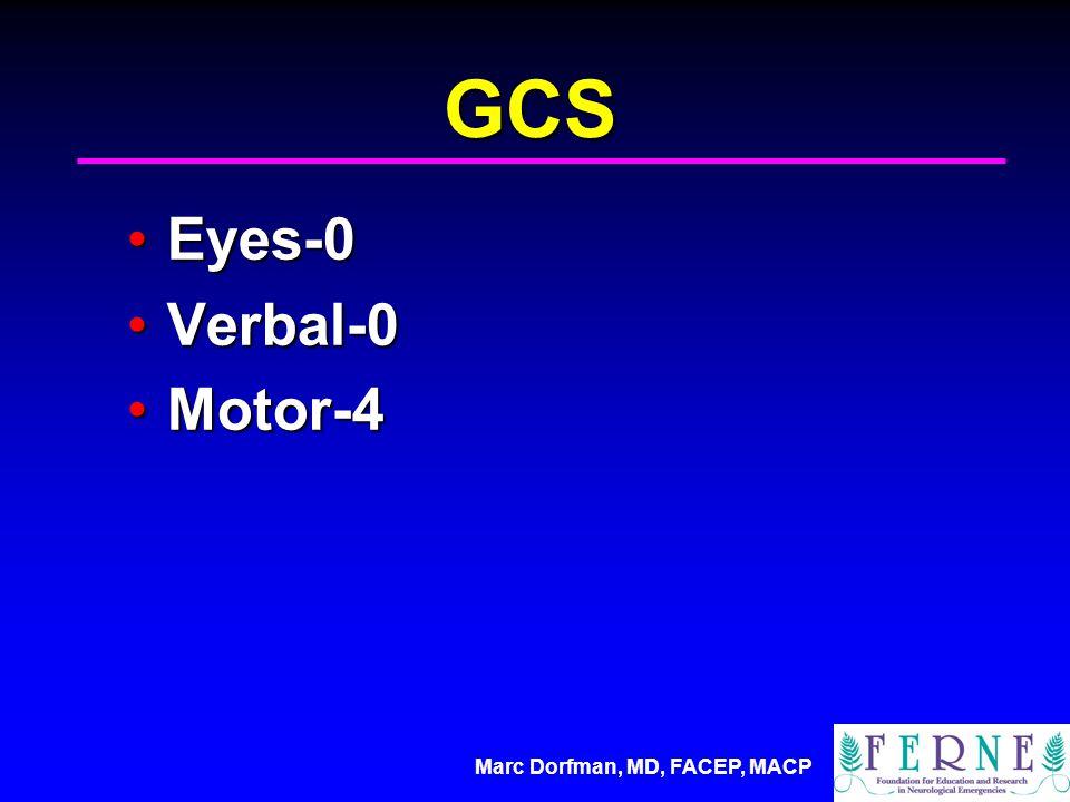 Marc Dorfman, MD, FACEP, MACP GCS Eyes-0Eyes-0 Verbal-0Verbal-0 Motor-4Motor-4