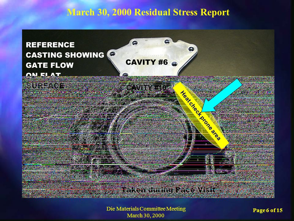 March 30, 2000 Residual Stress Report Die Materials Committee Meeting March 30, 2000 Page 6 of 15 Heat check prone area CAVITY #10