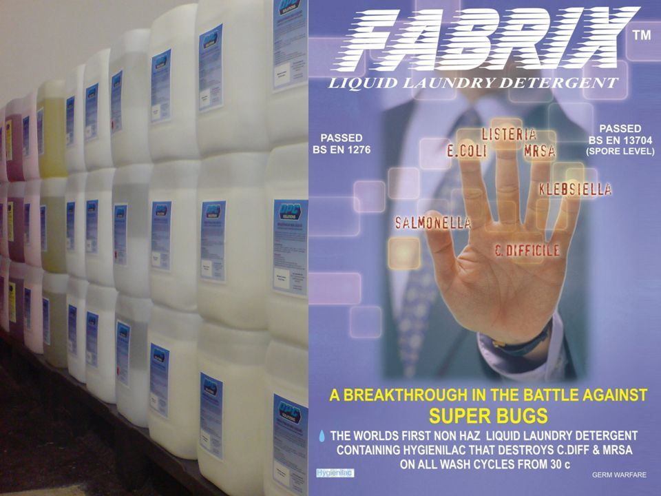 A BREAKTHROUGH IN THE BATTLE AGAINST SUPER BUGS OPC Solutions Limited are distributors of this exciting new detergent called FABRIX™ which has been granted exclusive worldwide rights to incorporate the agent Hygienilac.