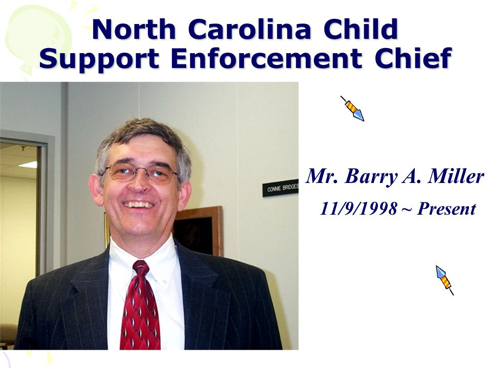 North Carolina Child Support Enforcement Chief Mr. Michael Adams 5/1/1990 ~ 6/3/1998