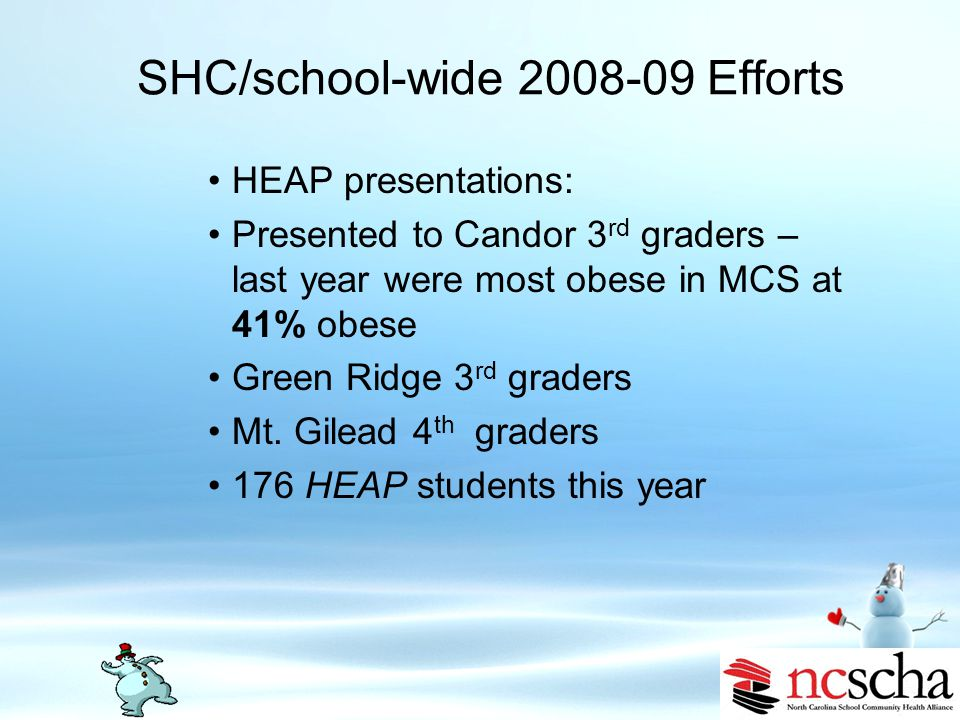 SHC/school-wide 2008-09 Efforts Alignment with MCS system goals – Promote a child-centered culture of health, rigor, and high expectations Nutrition educator collaborated with school staff in forming after school walking clubs at both middle schools – 130 miles walked Health Eating Every Day (HEED) classes for school staff BMI data collection for all MCS students grades pre-K-12