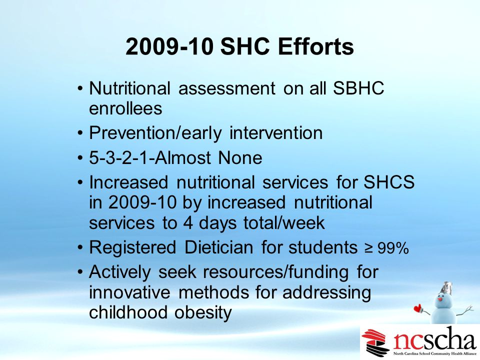 Additional School-wide efforts SPARK curriculum in K-8 www.spark.org Fitnessgram software to track BMI Healthy Kids/Healthy Communities grant School Nutrition Director developing healthier menus 3 schools received fruit grants